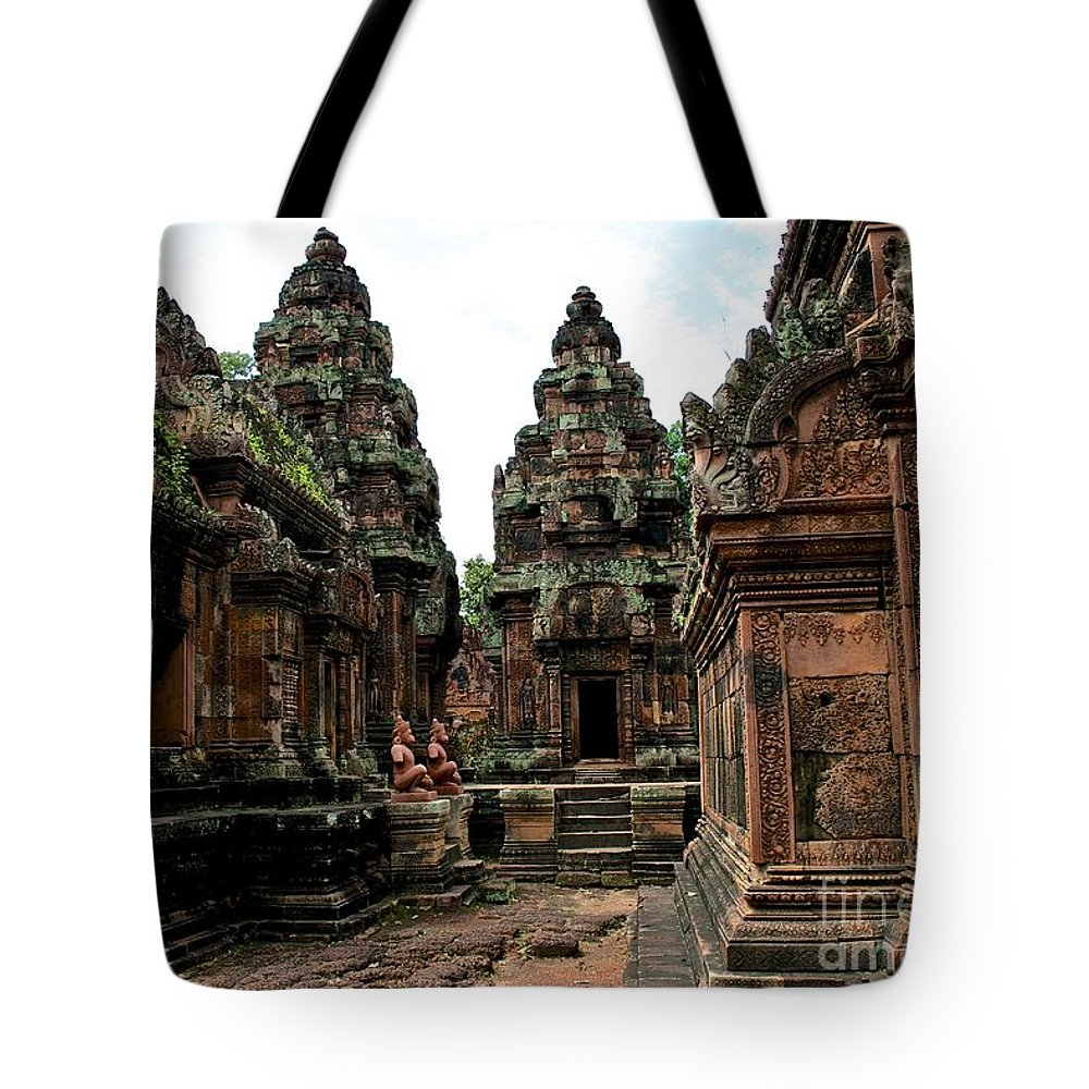 Temple Tote Bag featuring the photograph Banteay Srei Temple by Roam Images