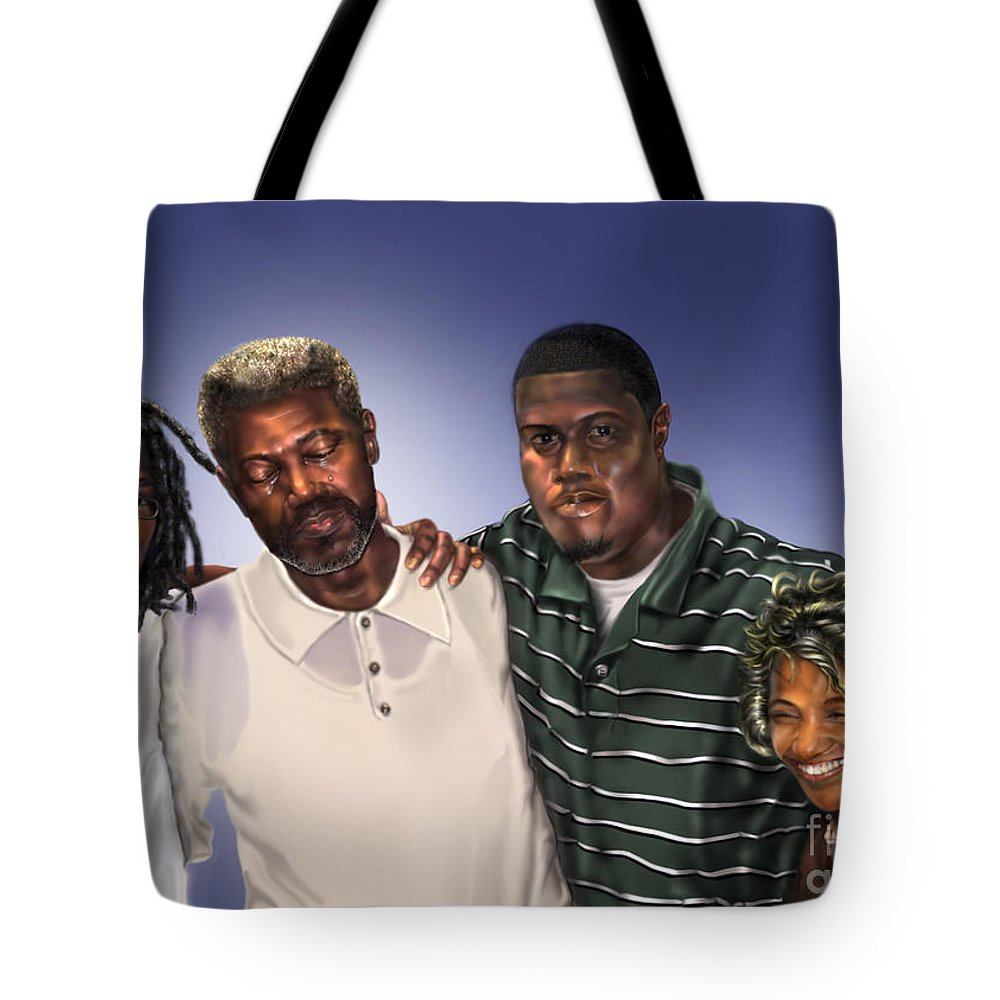 Family Painting Tote Bag featuring the painting Baptized In His Glory by Reggie Duffie