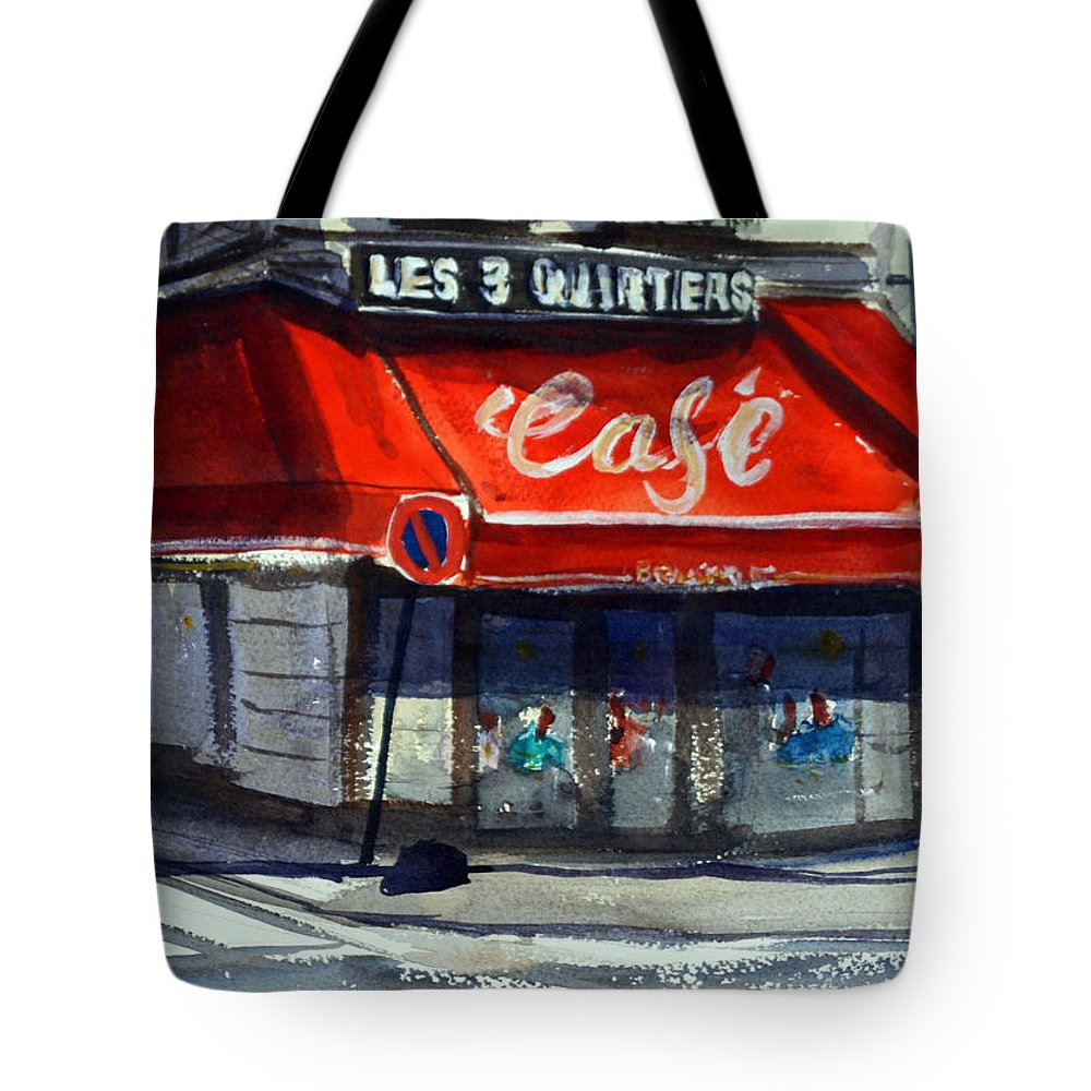 Cafe Tote Bag featuring the painting Bar Les 3 Quartiers by James Nyika