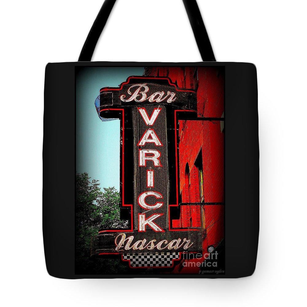 Nascar Tote Bag featuring the photograph Bar Varick Nascar by Peter Gumaer Ogden