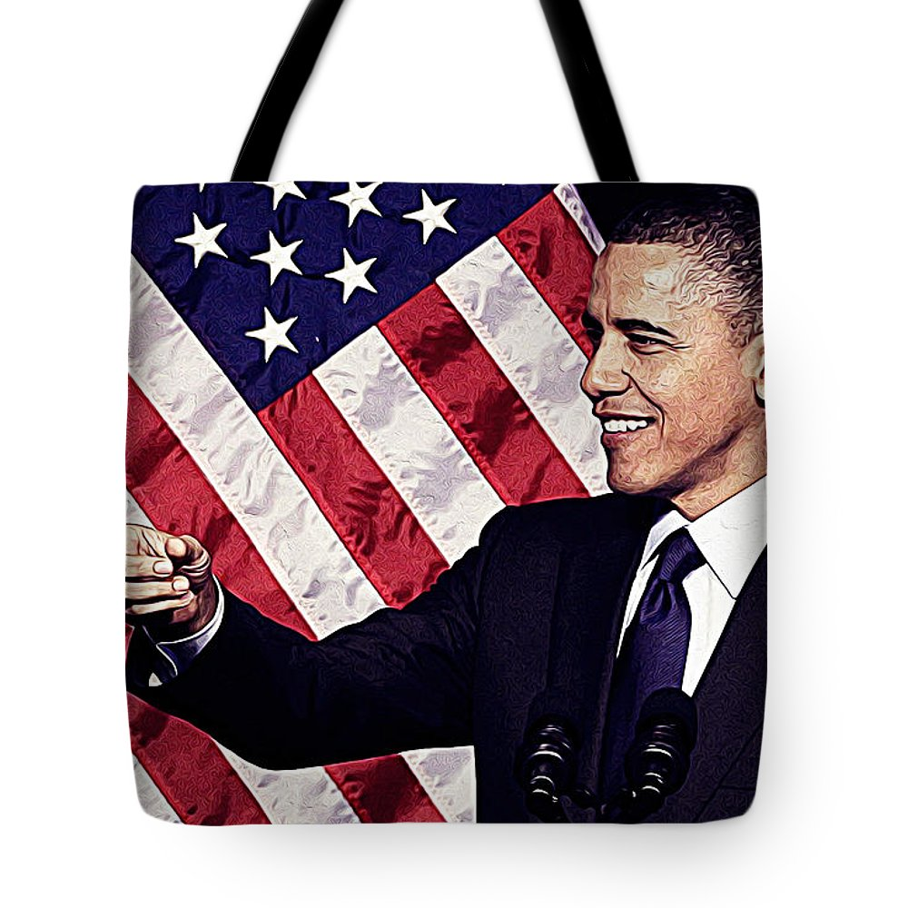 Barack Obama Tote Bag featuring the painting Barack Obama by Queso Espinosa