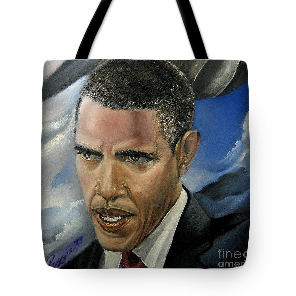 President Of The Usa Tote Bag featuring the painting Barack by Reggie Duffie