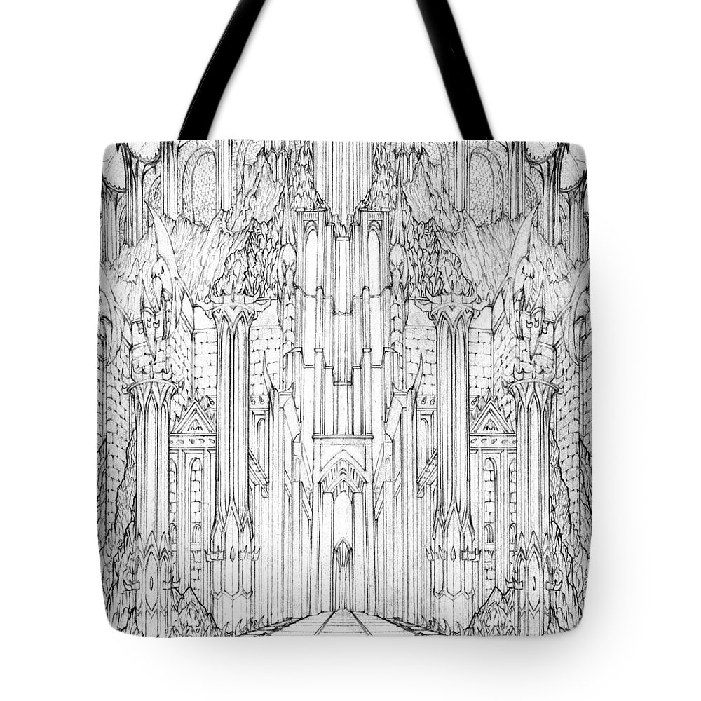 Barad-dur Tote Bag featuring the drawing Barad-dur Gate Study by Curtiss Shaffer