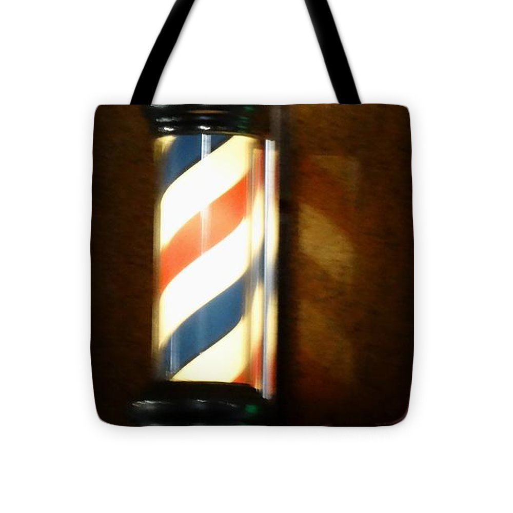 Barber Tote Bag featuring the photograph Barber Shop Reflection by Joseph Baril