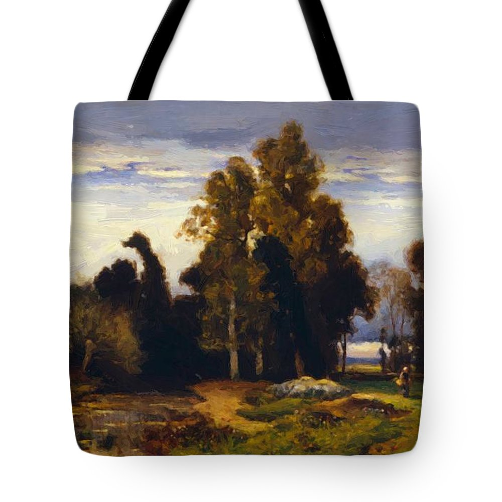 Barbizon Tote Bag featuring the painting Barbizon Landscape by Dupre Jules