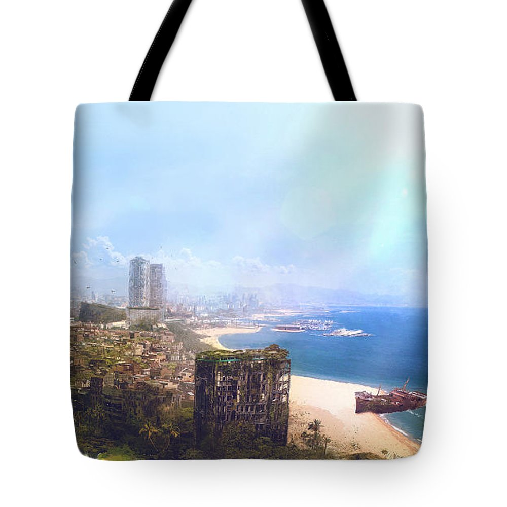 Sciencie Fiction Tote Bag featuring the painting Barcelona Aftermath La Barceloneta by Guillem H Pongiluppi