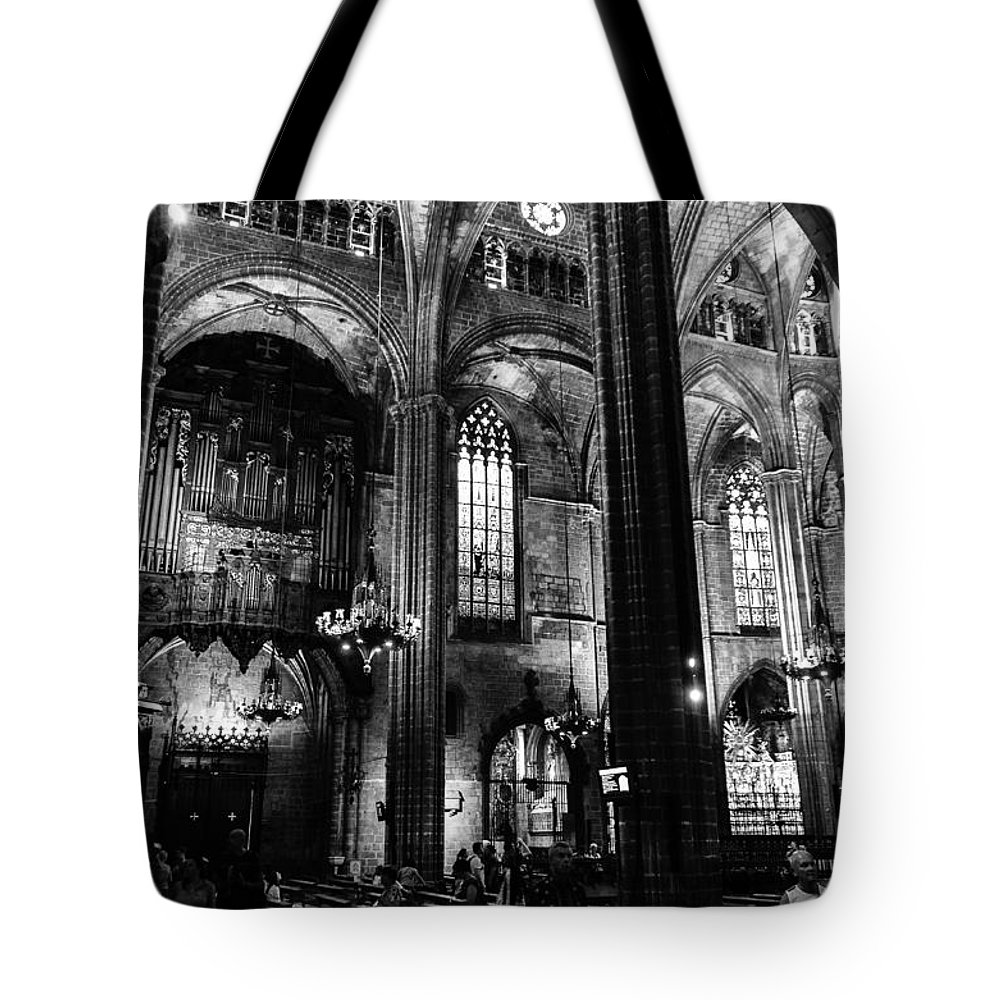 Barcelona Tote Bag featuring the photograph Barcelona Cathedral Interior Bw by RicardMN Photography