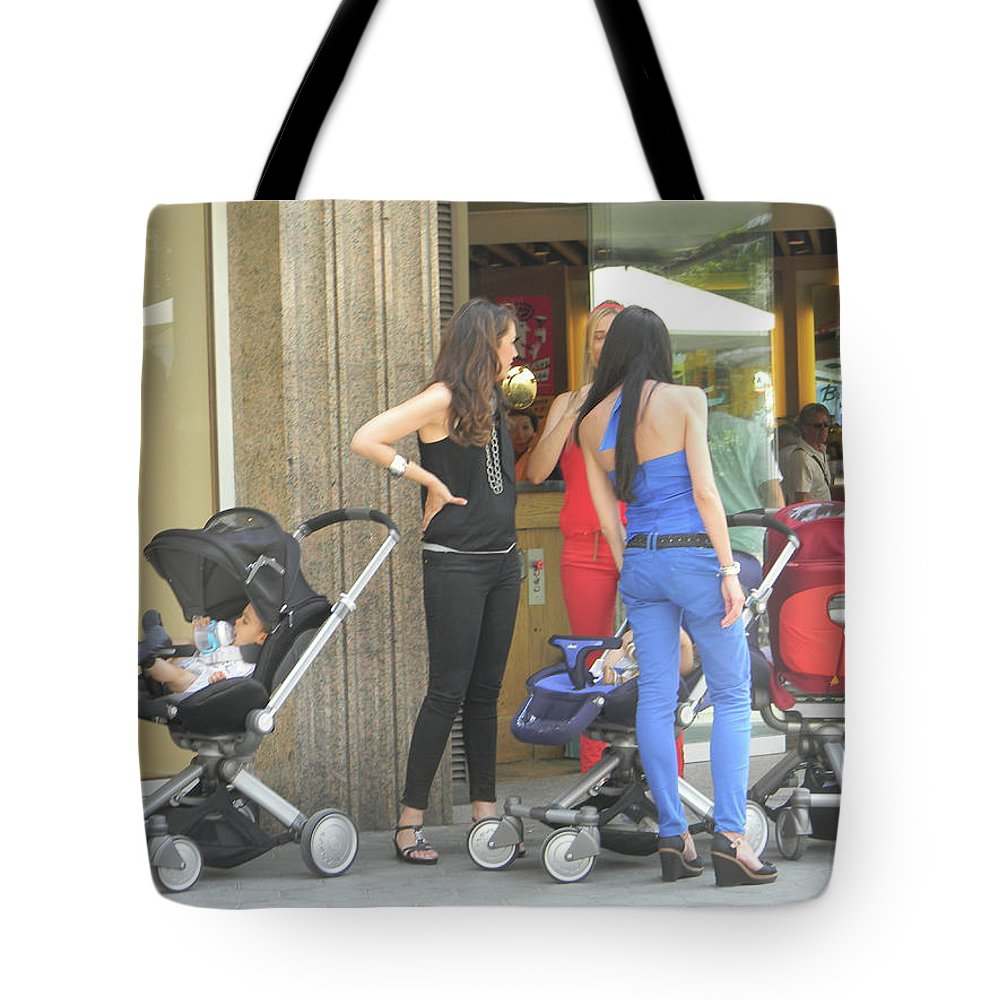 Marwan Khoury Tote Bag featuring the photograph Barcelona Moms by Marwan George Khoury
