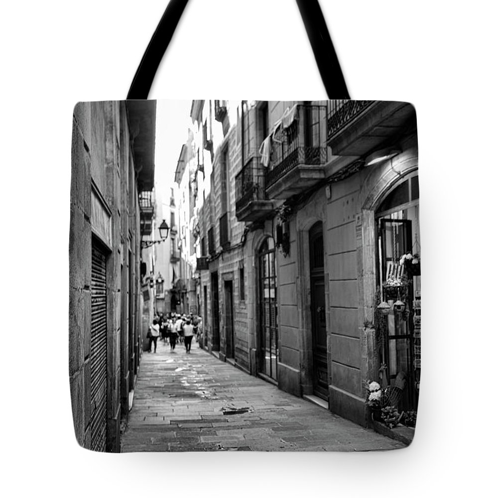 Light Tote Bag featuring the photograph Barcelona Small Streets Bw by Chuck Kuhn