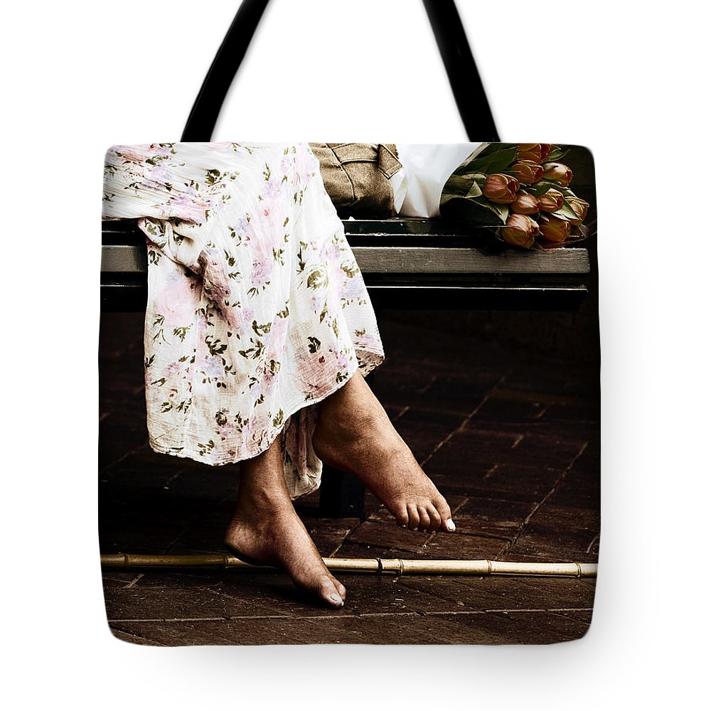 Barefeet Feet Barefoot Tulips Tote Bag featuring the photograph Barefoot And Tulips by Sheila Smart Fine Art Photography