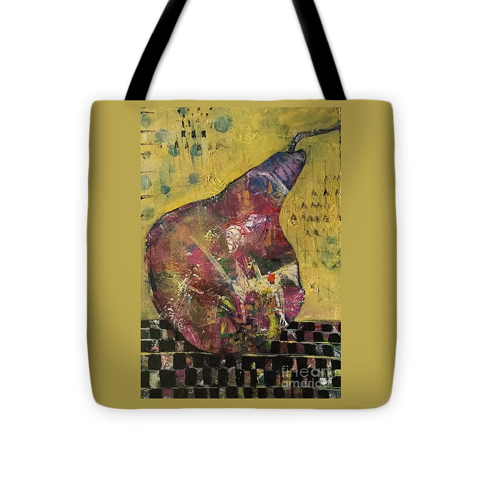 Pear Tote Bag featuring the painting Barely A Pair 1 by Gail Butters Cohen