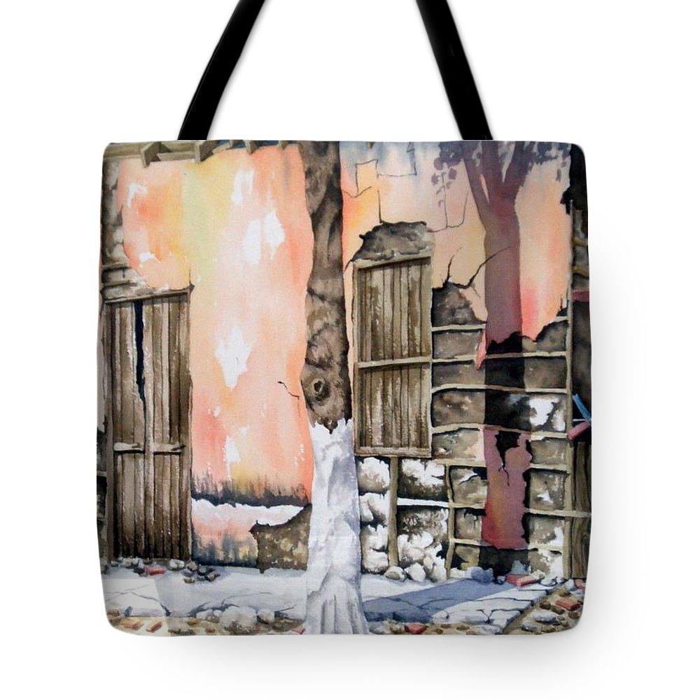 Lanscape Tote Bag featuring the painting Bareque II by Tatiana Escobar