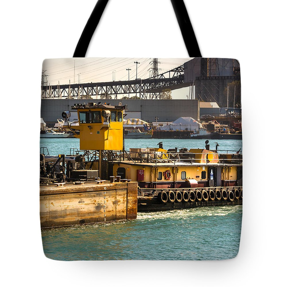 Morgan Tote Bag featuring the photograph Barge Movement With The Morgan by Christine Douglas