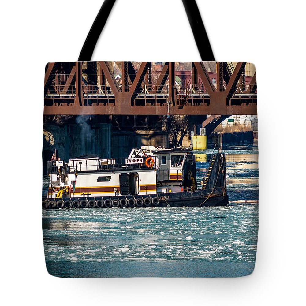 100th Street Bridge Tote Bag featuring the photograph Barge Work With The Tug Tanner by Christine Douglas