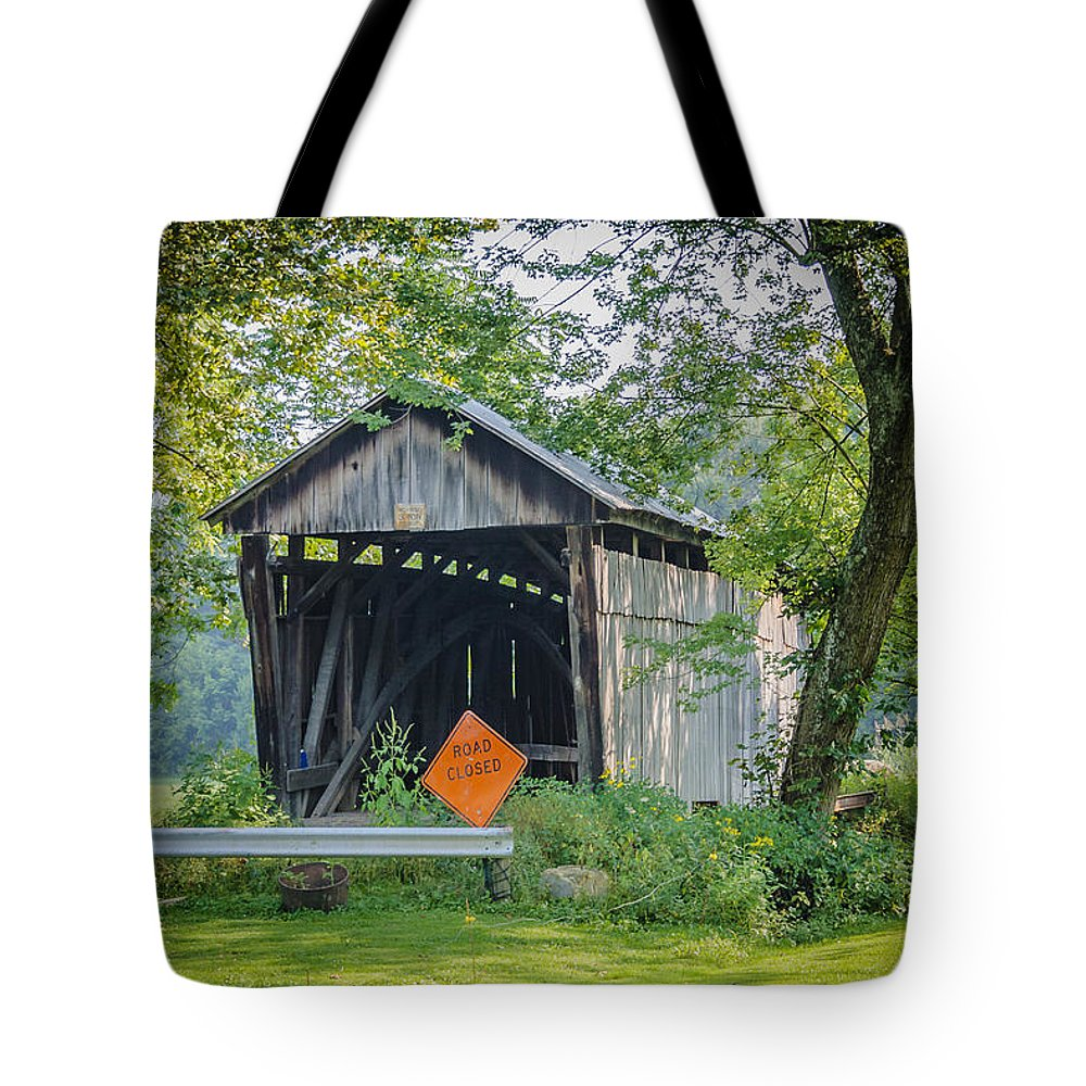 America Tote Bag featuring the photograph Barkhurst Covered Bridge by Jack R Perry