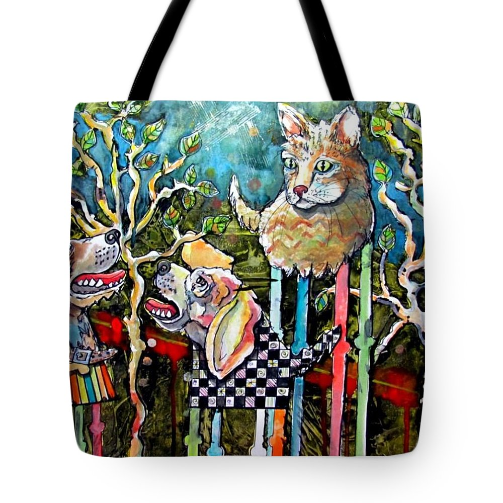 Cat Tote Bag featuring the mixed media Barking Up The Wrong Tree by Alan Gordon