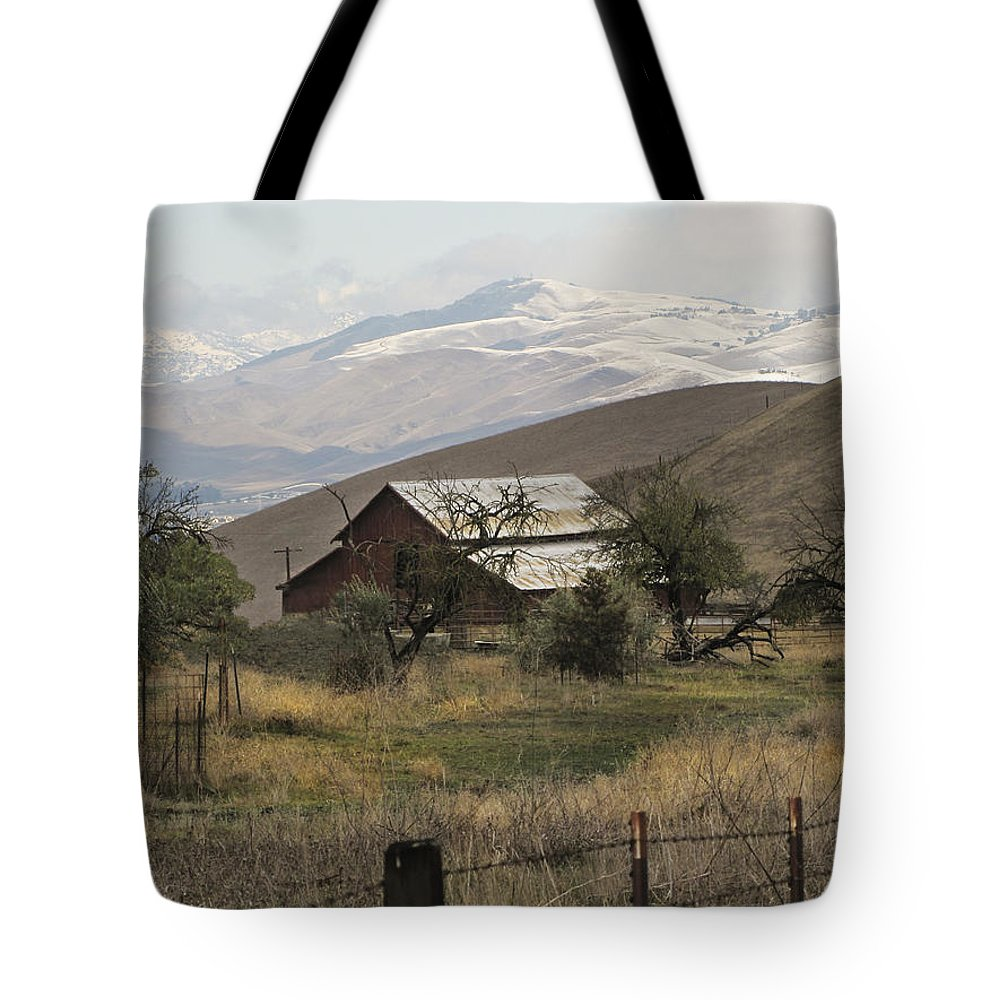Barn Tote Bag featuring the photograph Barn And Snow by Karen W Meyer