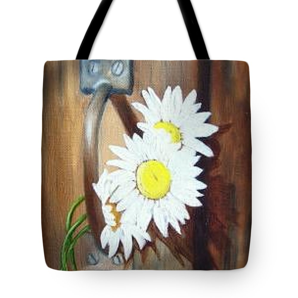 Rustic Barn Door With Metal Latch And Three White Daisies Tote Bag featuring the painting Barn Door Daisies SOLD by Susan Dehlinger