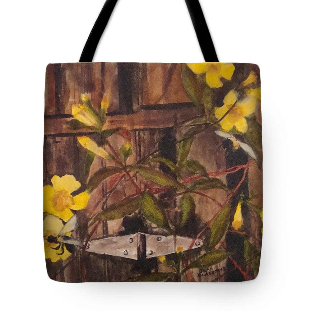 Flower Tote Bag featuring the painting Barn Door Hinge by Jean Blackmer