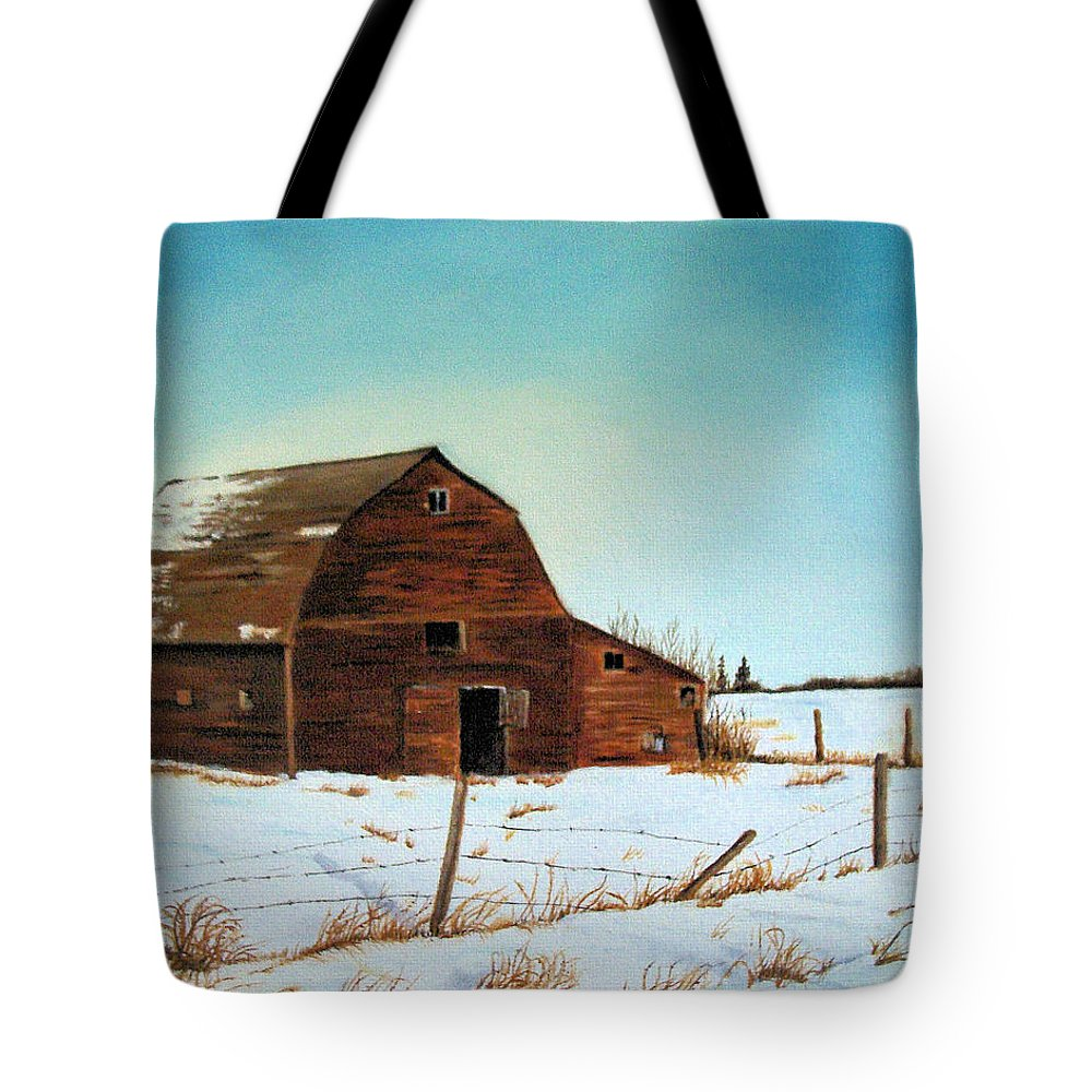 Barn Tote Bag featuring the painting Barn In Winter by Jeannette Sommers