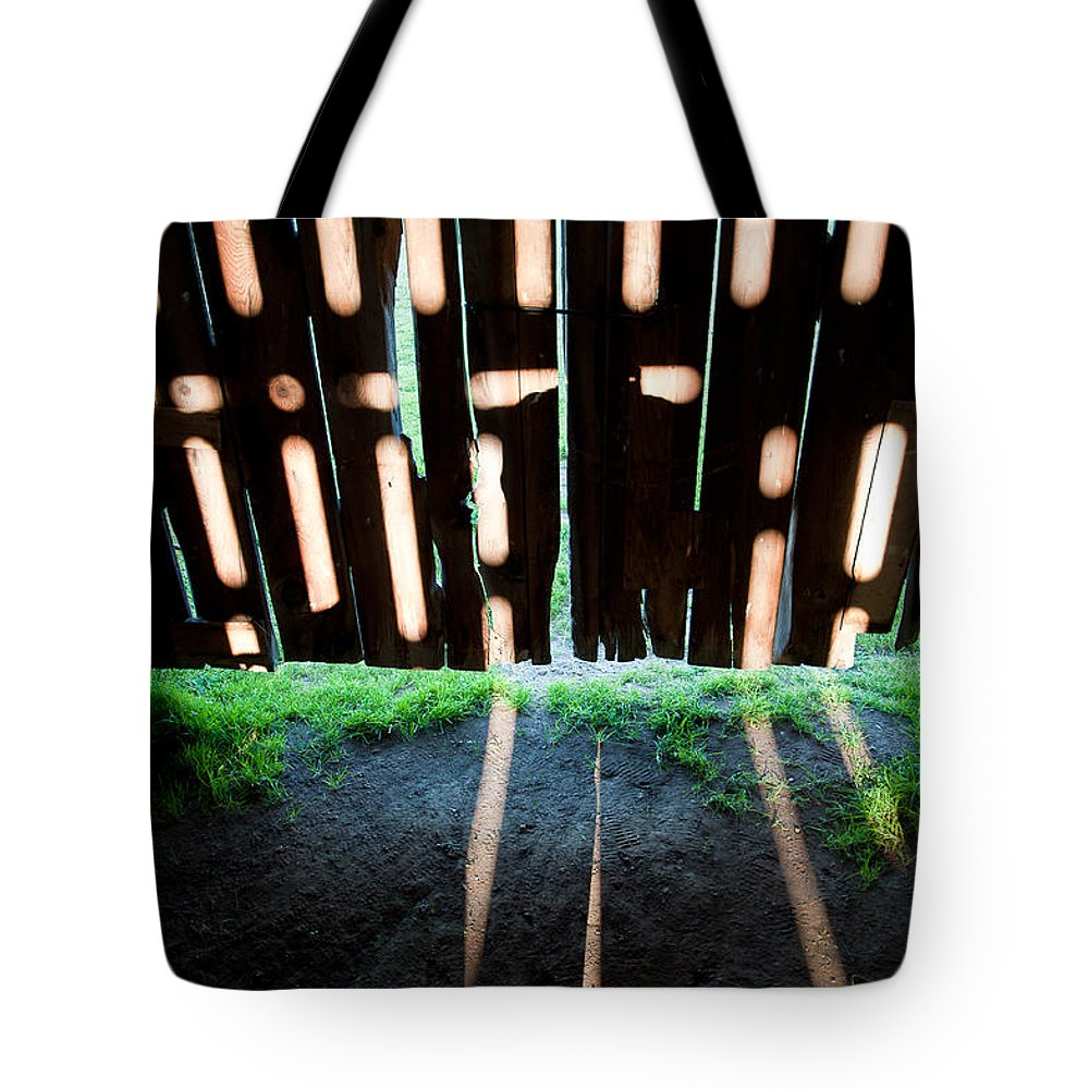 Barn Tote Bag featuring the photograph Barn Interior Shadows by Steven Dunn