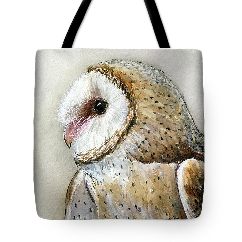 Owl Tote Bag featuring the painting Barn Owl Watercolor by Olga Shvartsur