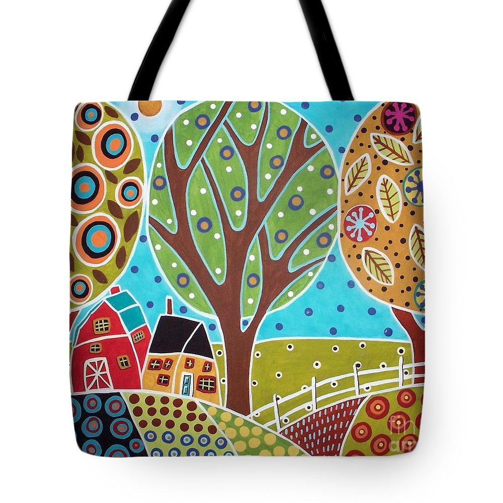 Landscape Tote Bag featuring the painting Barn Trees And Garden by Karla Gerard