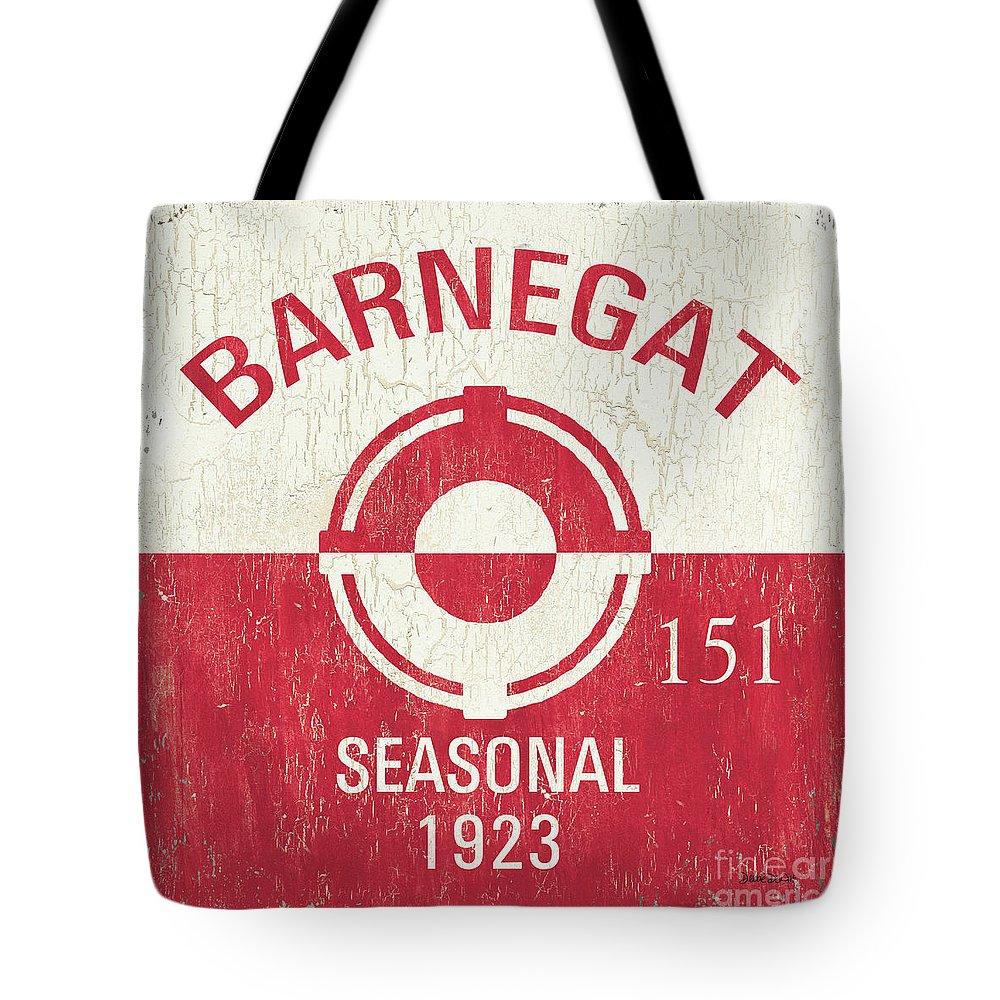 Beach Tote Bag featuring the painting Barnegat Beach Badge by Debbie DeWitt