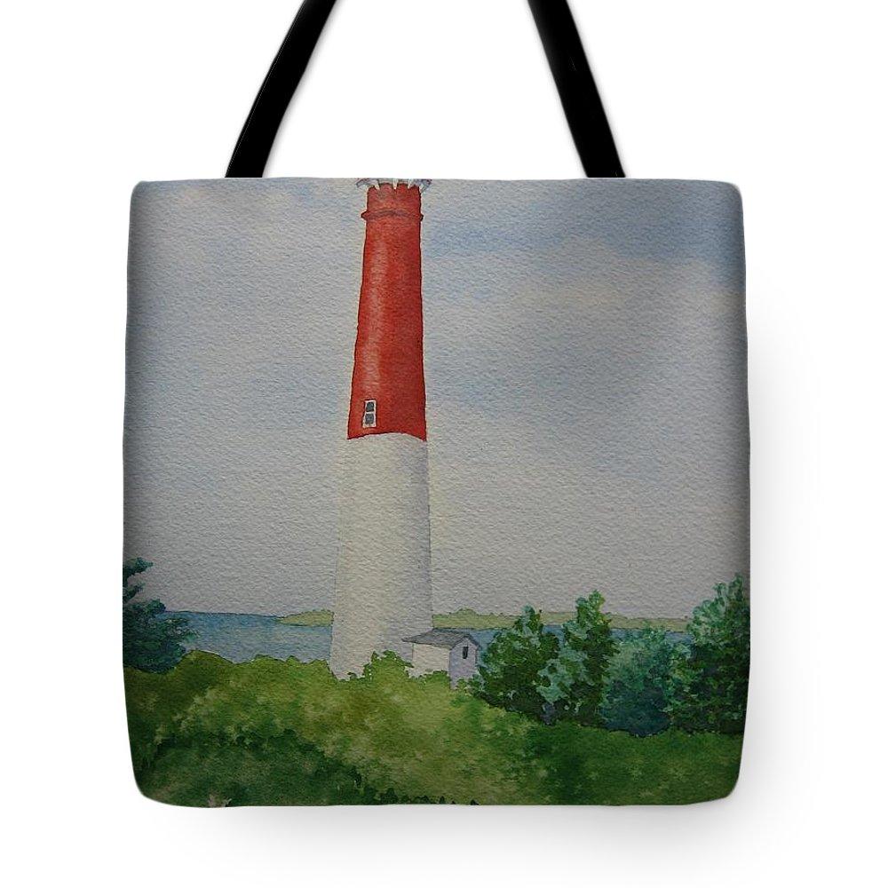Barnegat Lightouse New Jersey Long Beach Ocean Landscape Light Long Beach Tote Bag featuring the painting Barnegat Light by Jeff Lucas