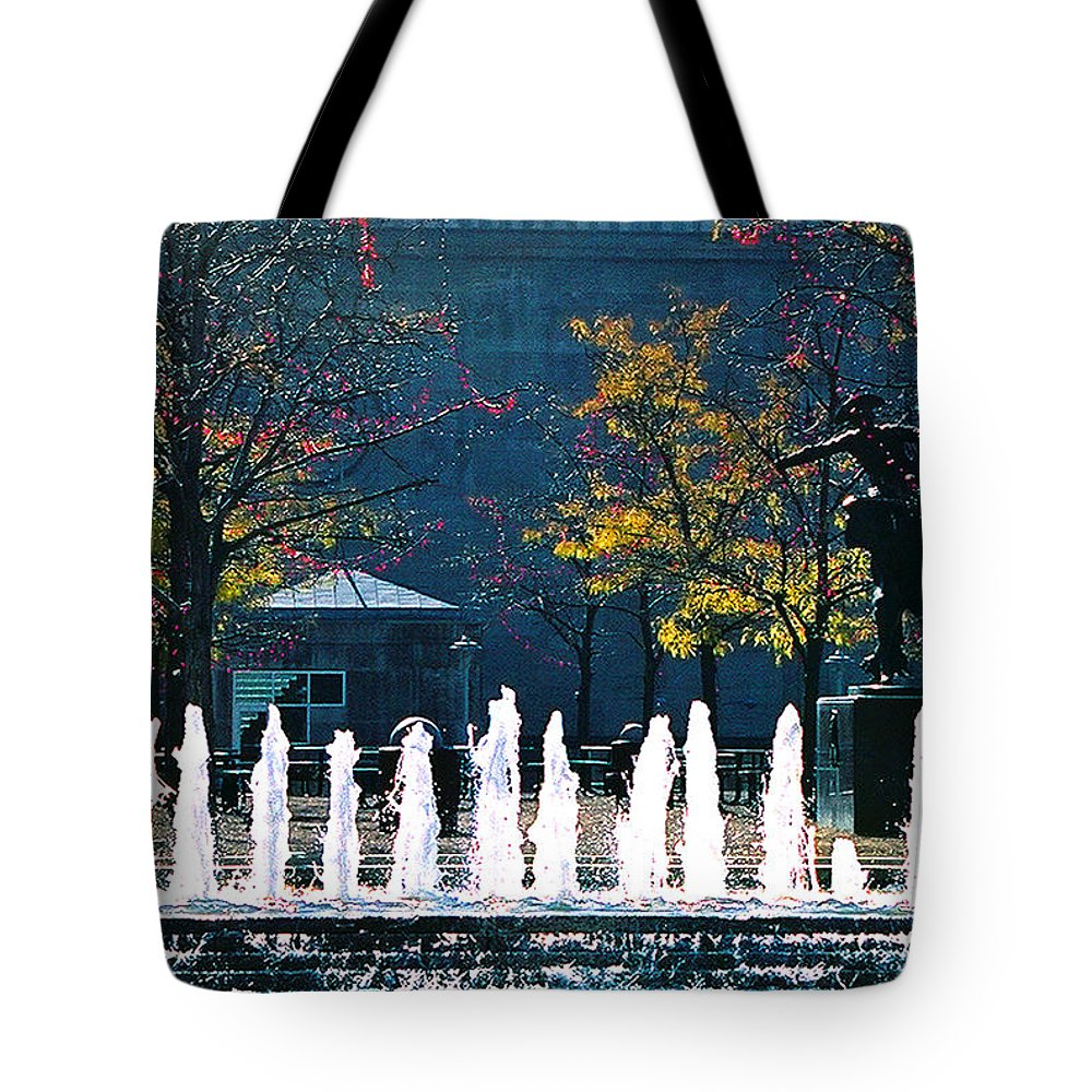 Landscape Tote Bag featuring the photograph Barney Allis Plaza-kansas City by Steve Karol
