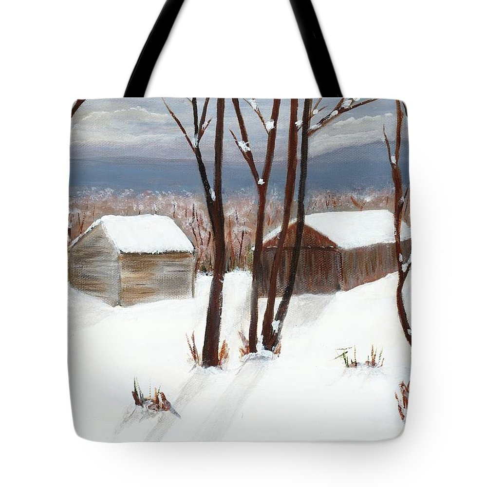 Winter Tote Bag featuring the painting Barns Of West Sand Lake by Sheryl Galinski
