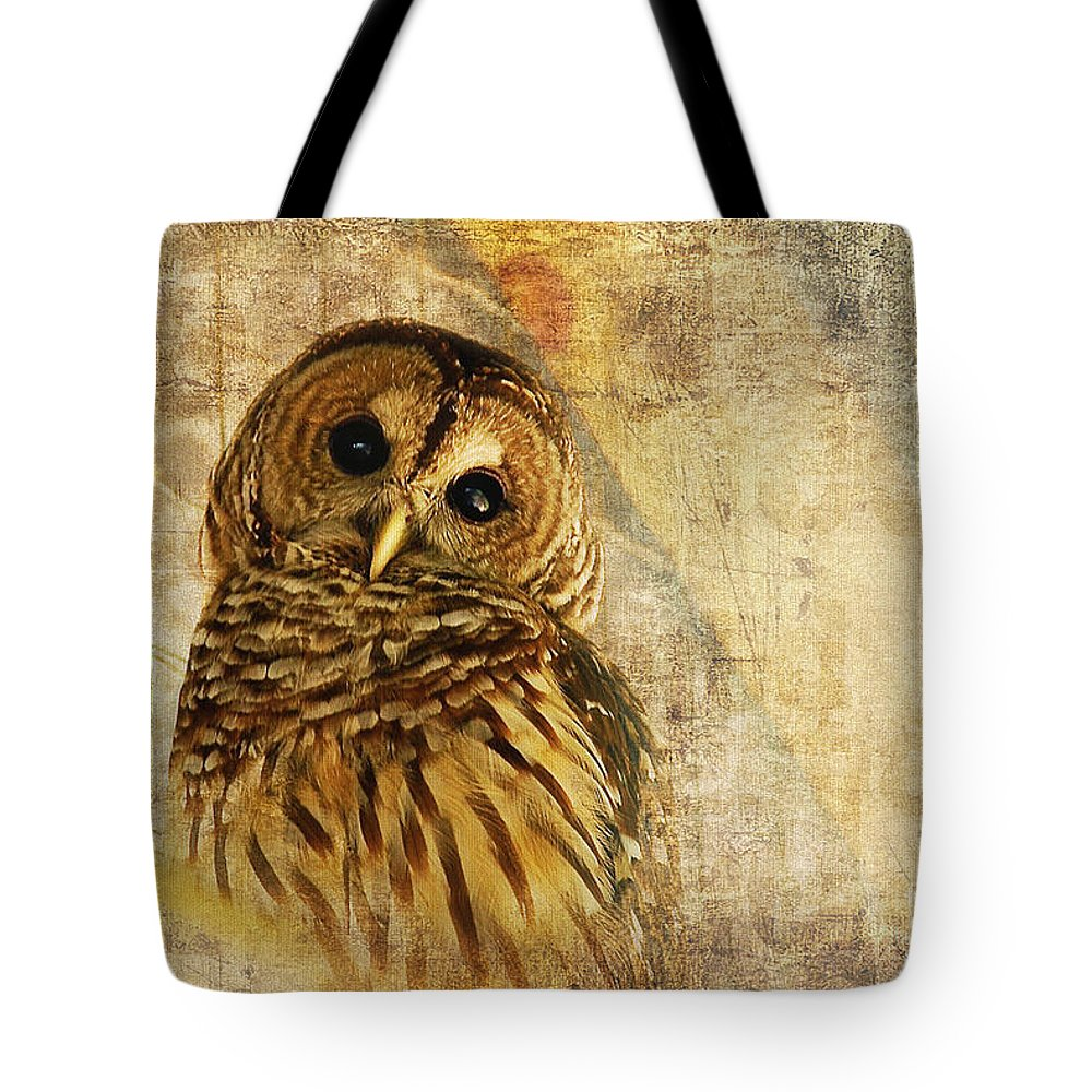 Owl Tote Bag featuring the photograph Barred Owl by Lois Bryan