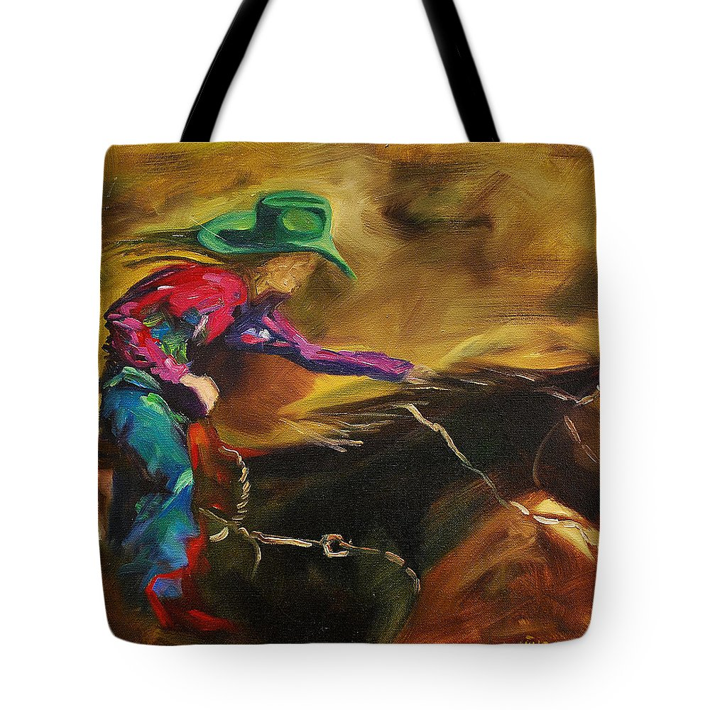 Western Art Tote Bag featuring the painting Barrel Racer by Diane Whitehead