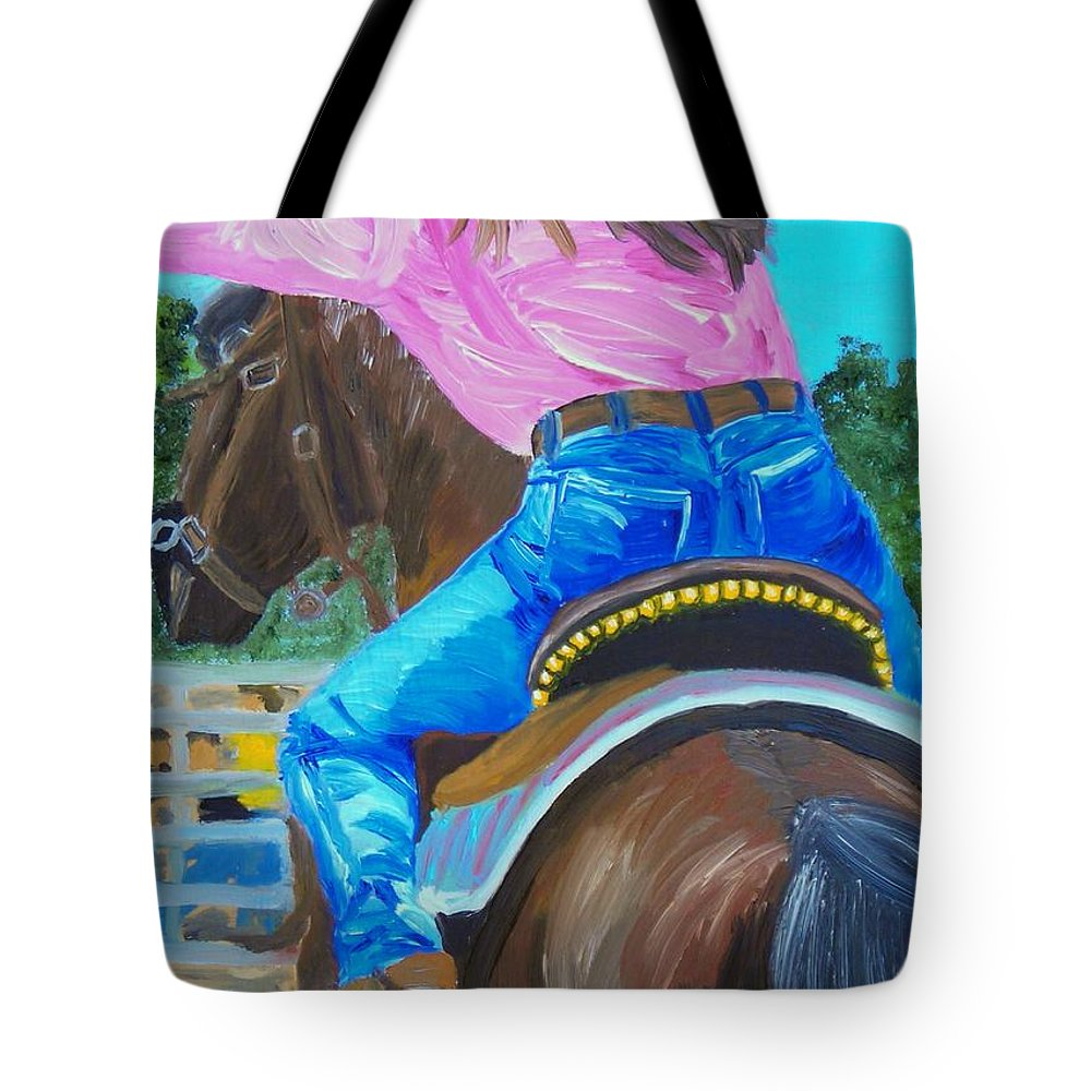 Barrell Racer Tote Bag featuring the painting Barrel Rider by Michael Lee
