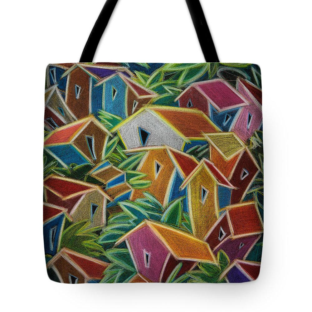 Landscape Tote Bag featuring the painting Barrio Lindo by Oscar Ortiz