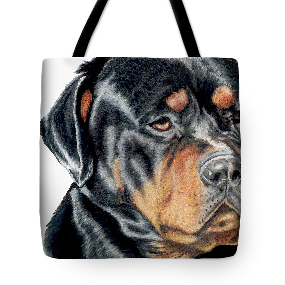 Rottweiler Tote Bag featuring the drawing Bart Detail by Kristen Wesch