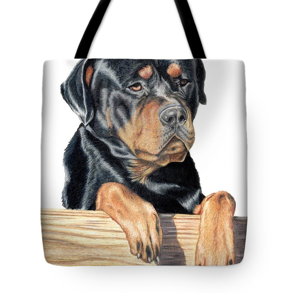 Dog Tote Bag featuring the drawing Bart by Kristen Wesch