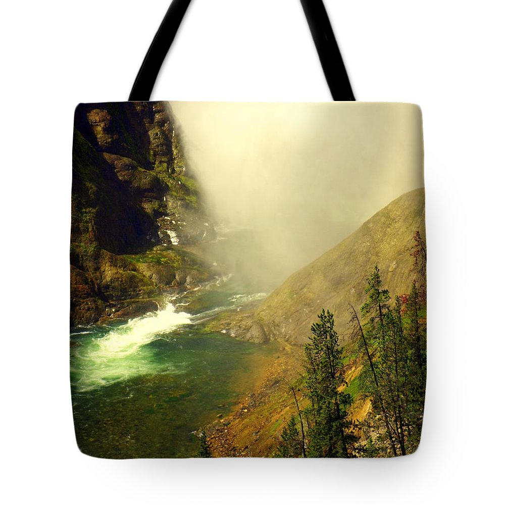 Yellowstone River Tote Bag featuring the photograph Base Of The Falls 2 by Marty Koch