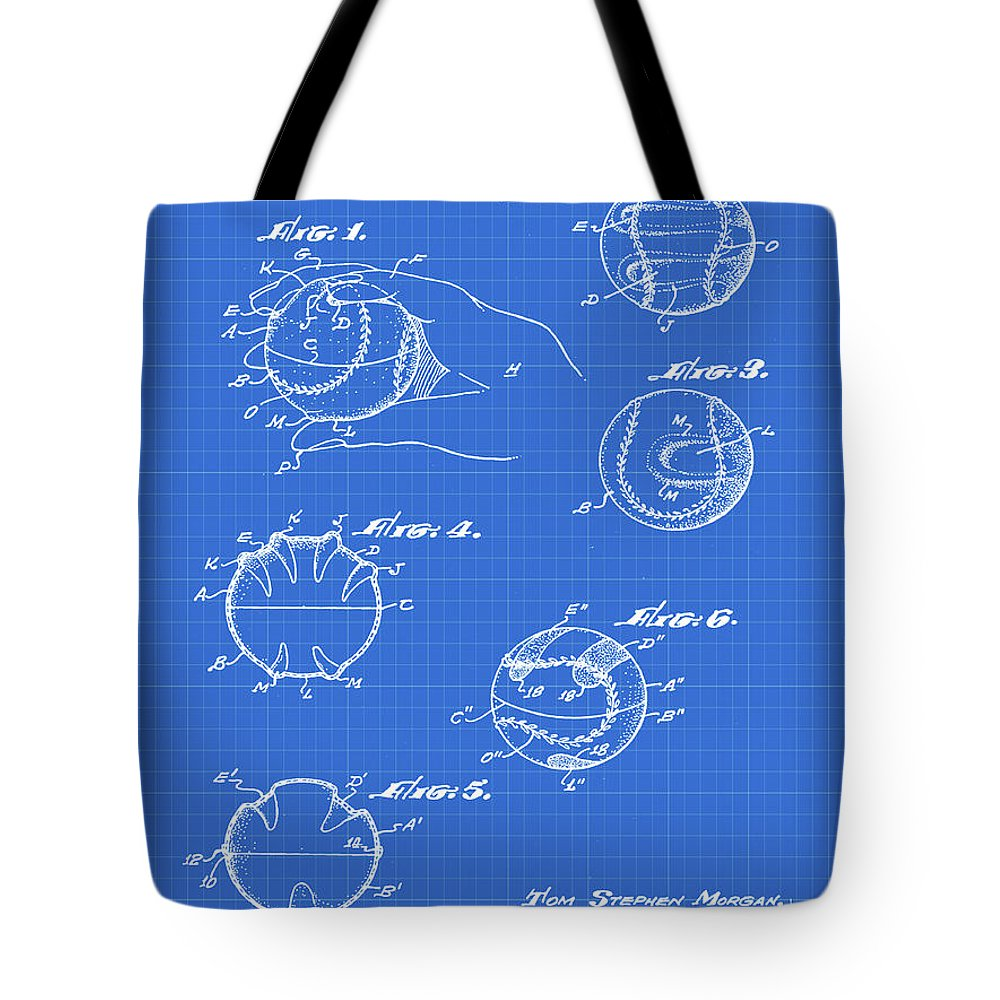 Baseball Tote Bag featuring the photograph Baseball Training Device Patent 1961 Blueprint by Bill Cannon