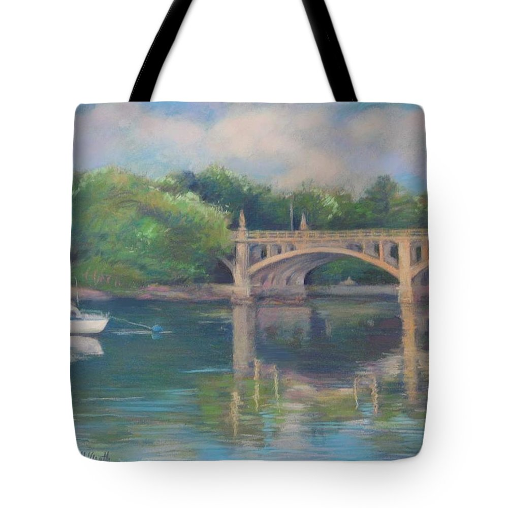 Mcgrath Tote Bag featuring the painting Basiliere Bridge Haverhill Ma by Leslie Alfred McGrath