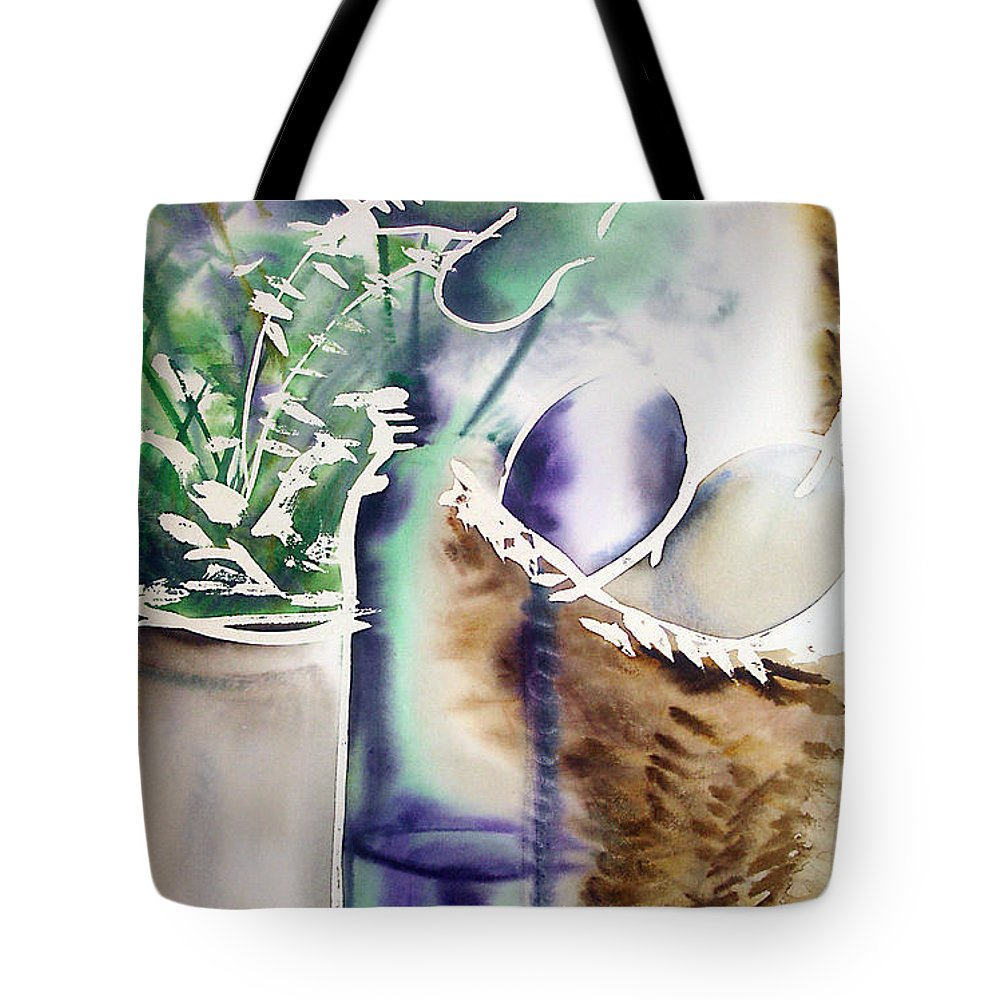Bottle Tote Bag featuring the painting Basket And Bottle by Allison Ashton