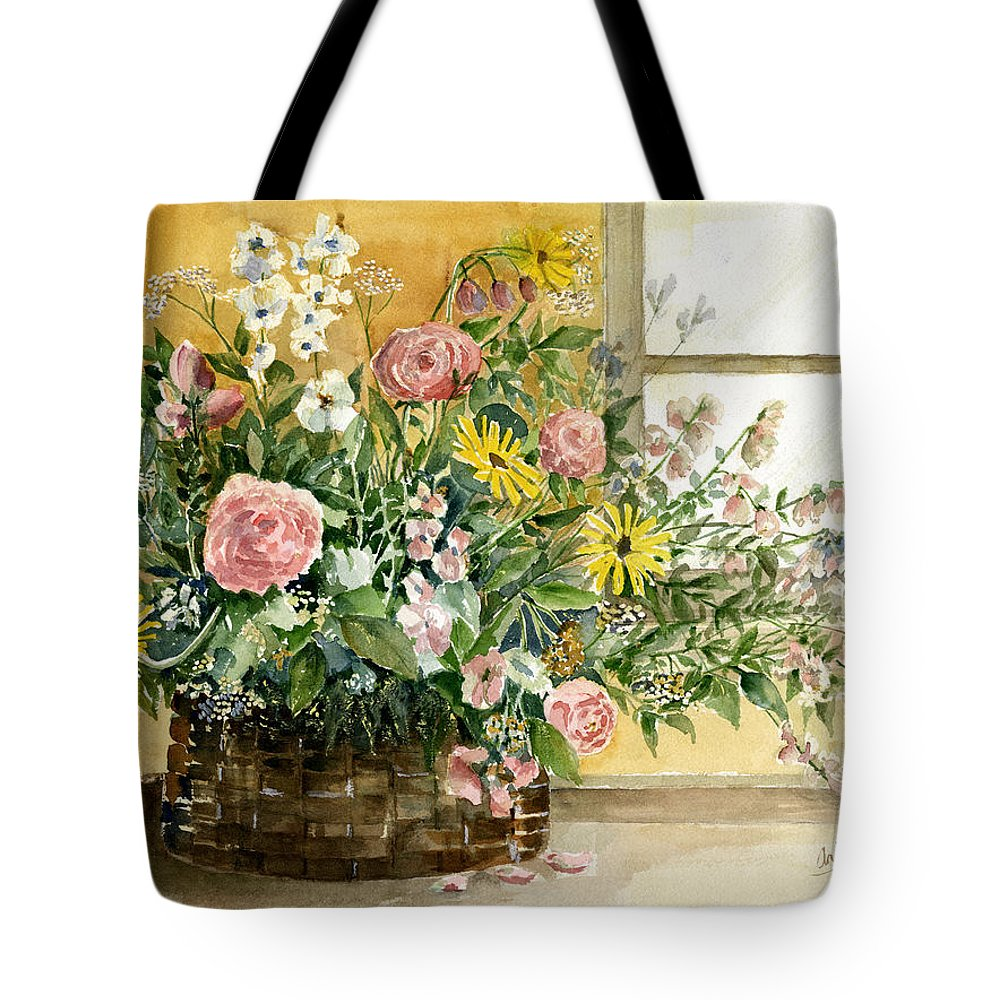 Basket Tote Bag featuring the painting Basket Bouquet by Arline Wagner