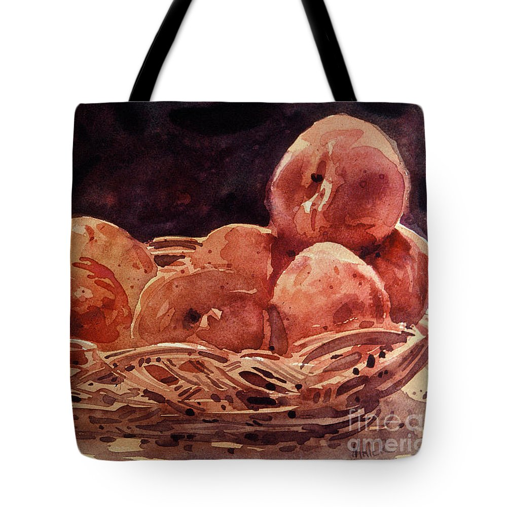 Peaches Tote Bag featuring the painting Basket Of Peaches by Donald Maier