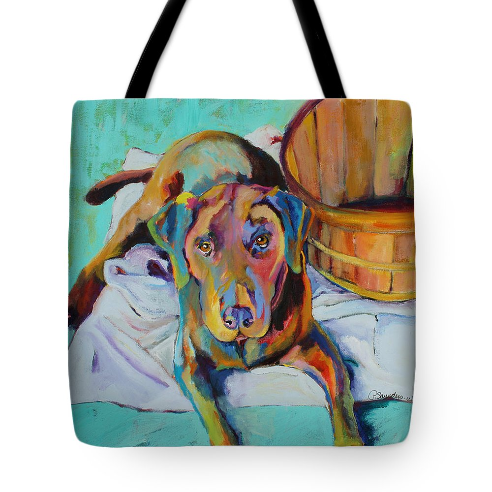 Chocolate Lab Tote Bag featuring the painting Basket Retriever by Pat Saunders-White