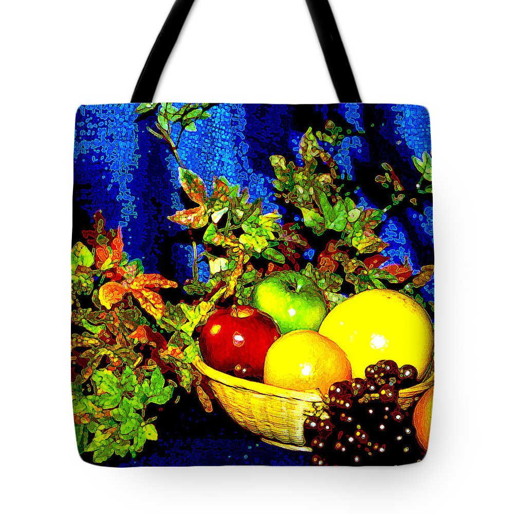 Fruit Tote Bag featuring the photograph Basket With Fruit by Nancy Mueller