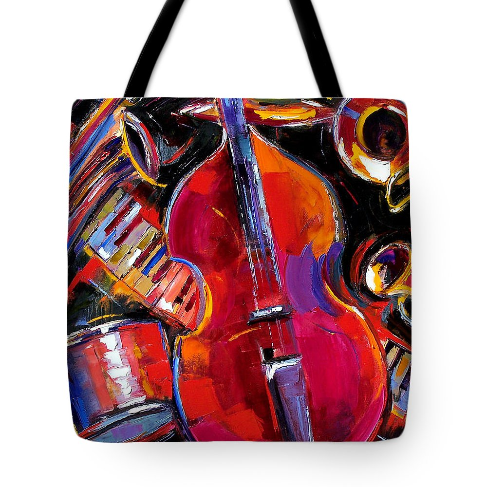 Jazz Tote Bag featuring the painting Bass And Friends by Debra Hurd