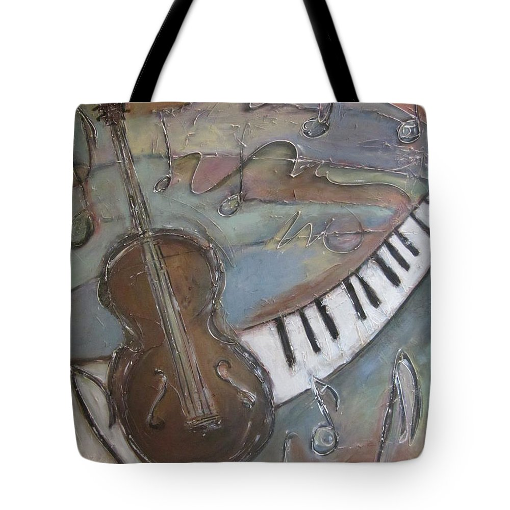 Painting Tote Bag featuring the painting Bass And Keys by Anita Burgermeister