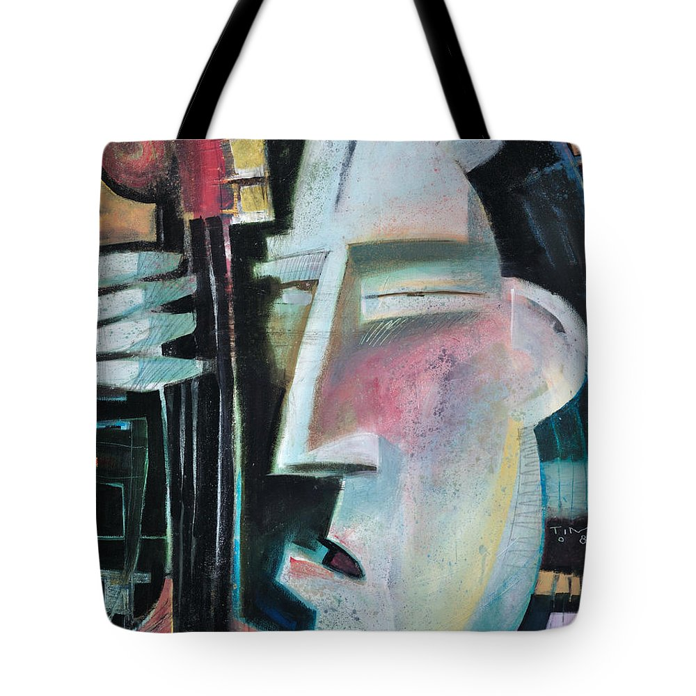 Jazz Tote Bag featuring the painting Bass Face by Tim Nyberg