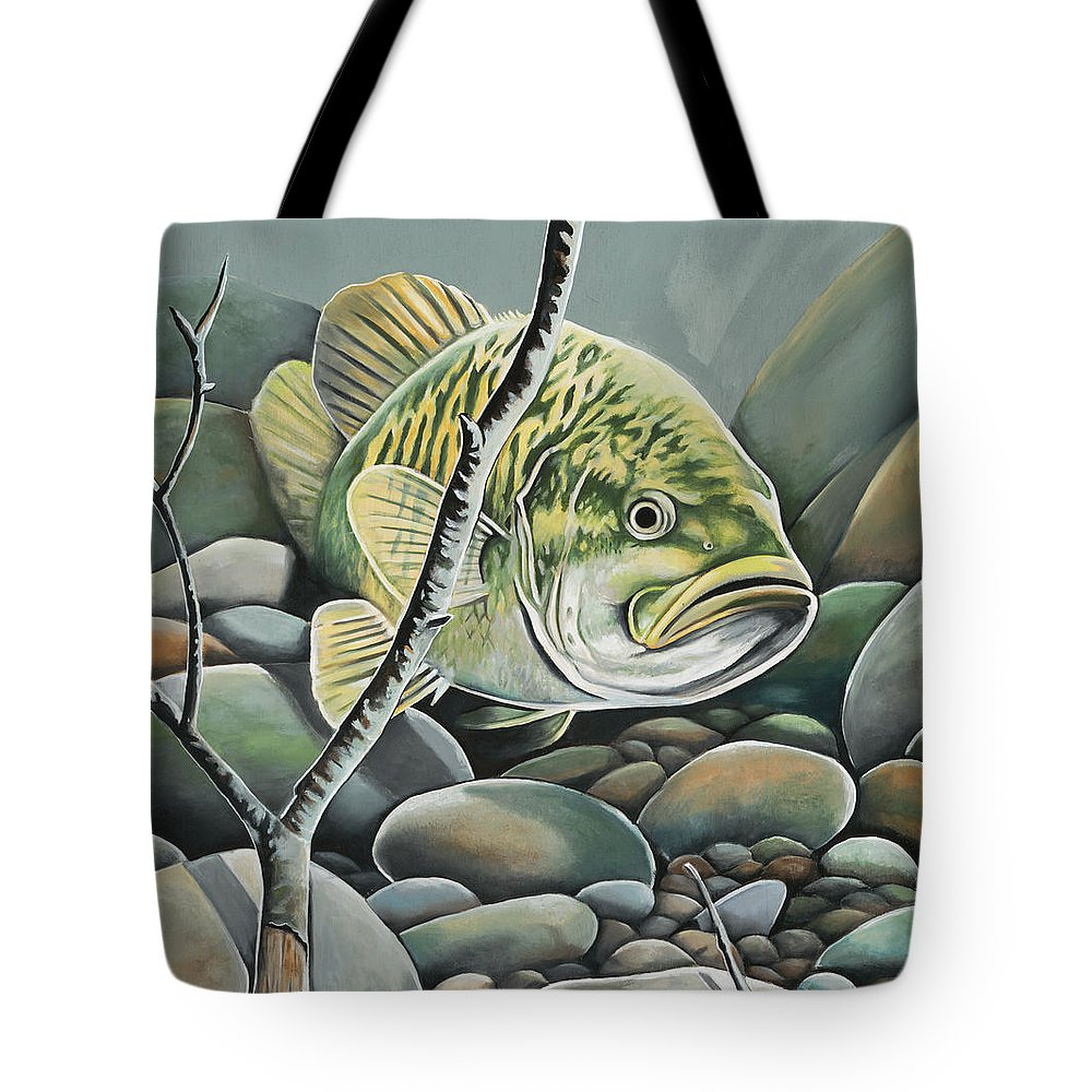 Fishing Tote Bag featuring the painting Bass In Rocks by Jerri Simmons