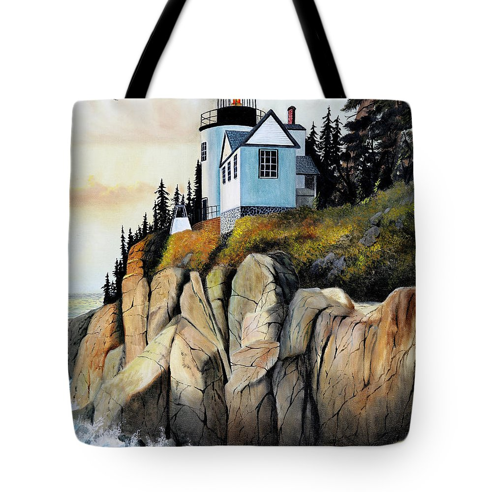 Lighthouse Tote Bag featuring the painting Bass Light by Don Griffiths